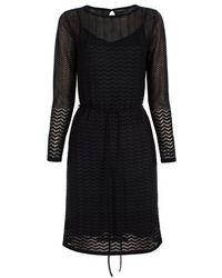 Paul Smith | Women's Black Wool-blend Chevron Devoré Dress | Lyst