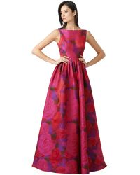 Adrianna Papell Floral Print A Line Gown - Lyst