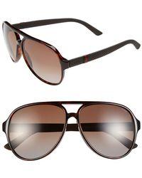 Gucci '1065S' 59Mm Polarized Aviator Sunglasses - Havana - Lyst