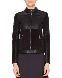 Callens - Velveteen & Leather Biker Jacket - Lyst