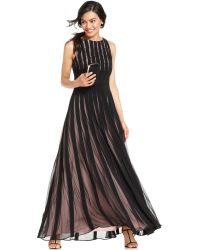 Js Collections S Illusion Striped Lace Gown - Lyst