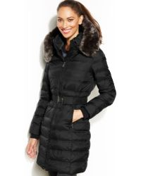 DKNY Hooded Fauxfurtrim Belted Down Puffer Coat - Lyst