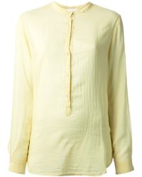 Forte Forte Pleated Mandarin Collar Shirt - Lyst