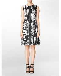 Calvin Klein White Label Faux Leather Trim Abstract Print Sleeveless A-Line Dress - Lyst