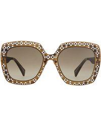 Alexander McQueen Metal Lattice Sunglasses - Lyst