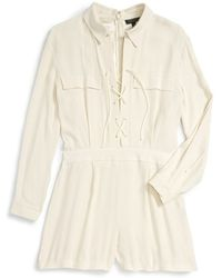 Topshop | Lace-up Long Sleeve Romper | Lyst