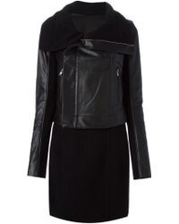 Rick Owens Black Paneled Coat - Lyst