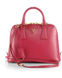 Prada Saffiano Vernice Small Round Tophandle Bag - Lyst
