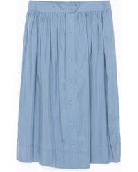 Zara Buttoned Flared Midi Skirt - Lyst
