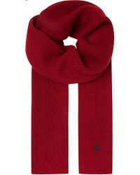 Ralph Lauren Ribbed Merino Wool Scarf Bourgone Red - Lyst