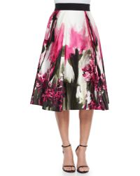 Milly Katie Painted Floral-Print Midi Skirt - Lyst
