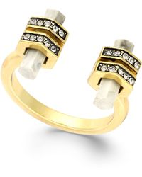 House Of Harlow Gold-tone Crystal Bar Open Ring - Lyst