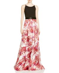 Aidan Mattox - Jersey Bodice & Printed Organza Skirt Gown - 100% Bloomingdale's Exclusive - Lyst