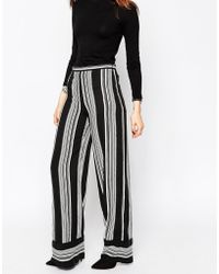 ASOS | Stripe Wide Leg Trousers With Contrast Hem | Lyst