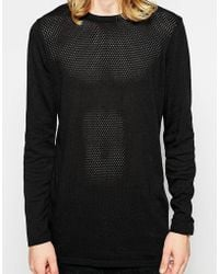 Asos Longline Sweater with Perforated Texture - Lyst
