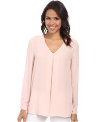 Vince Camuto Long Sleeve V-Neck Blouse W/ Inverted Front Pleat - Lyst
