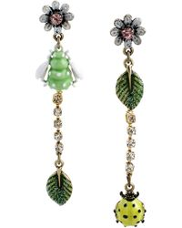 Betsey Johnson Mismatched Bug Charm Linear Earrings - Lyst