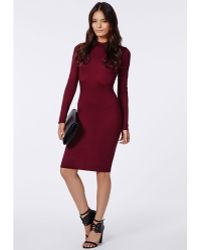 Missguided Tai High Neck Bodycon Dress Oxblood - Lyst