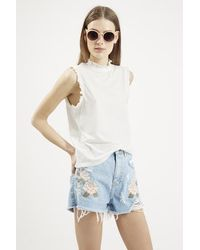 Topshop Ruched Trim Tank Top - Lyst