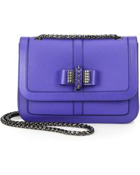 Christian Louboutin Sweet Charity Bow-Detail Leather Flap Bag blue - Lyst