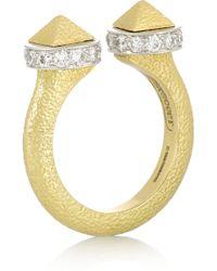 David Webb   Bastille 18-Karat Gold, Platinum And Diamond Ring   Lyst