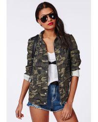 Missguided Zip Detail Camo Utility Jacket Khaki - Lyst