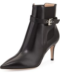 Gianvito Rossi Buckled Leather Point-Toe Bootie - Lyst