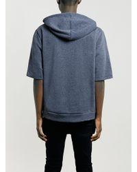 Topman Blue Short Sleeve Overhead Hoody with Side Zips - Lyst