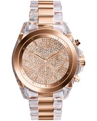Michael Kors Womens Chronograph Bradshaw Clear and Rose Goldtone Stainless Steel Bracelet Watch 43mm - Lyst