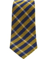 Turnbull & Asser - Slim Textured Check Tie In Navy And Yellow - Lyst