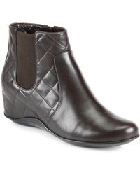 Aquatalia by Marvin K Quilted Leather Wedge Ankle Boots - Lyst