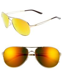 Oakley 'Caveat' 60Mm Aviator Sunglasses - Polished Gold/ Fire Iridium - Lyst