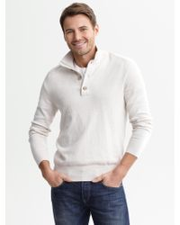 Banana Republic Cotton Cashmere Button Mock Light Tundra - Lyst