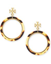 Tory Burch Tortoise Logo Hoop Earrings - Lyst