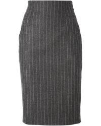 Alexander McQueen Pinstriped Pencil Skirt - Lyst