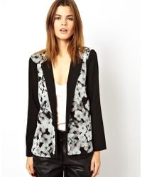 Asos Blazer In Sheer Floral And Drape Back - Lyst