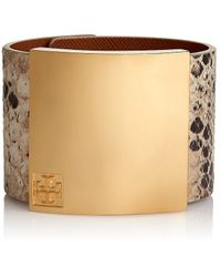Tory Burch Wide Metal Plaque Leather Bracelet - Lyst