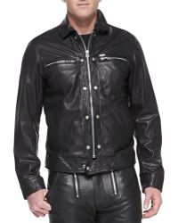 Diesel Bunmi Sheepskin Leather Moto Jacket Black - Lyst