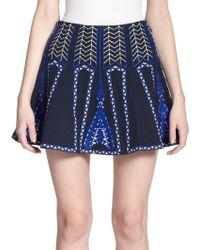 BCBGMAXAZRIA Bronwyn Embroidered Mini Skirt blue - Lyst