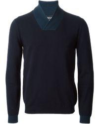 Giorgio Armani Wrap Collar Sweater - Lyst
