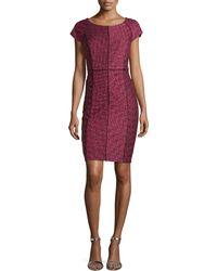 Laundry By Shelli Segal Cap-Sleeve Sheath Dress W/ Piping - Lyst