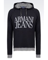 Armani Jeans Hooded Sweatshirt With Logo Print - Lyst