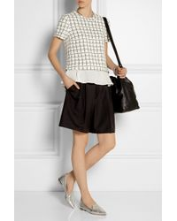 Elizabeth And James Tierney Checked Stretch-Knit And Silk-Chiffon Top - Lyst