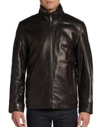 Marc New York By Andrew Marc Zip-Front Leather Jacket - Lyst
