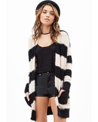 Forever 21 Fuzzy Striped Cardigan - Lyst