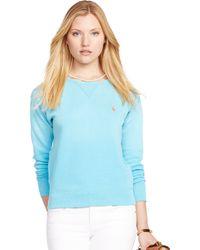 Ralph Lauren Fleece Crewneck Sweatshirt - Lyst