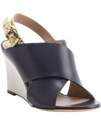 Celine Navy Leather And Snakeskin Wedge Sandals - Lyst