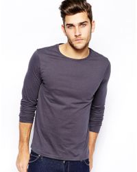 Asos Long Sleeve Tshirt with Crew Neck - Lyst