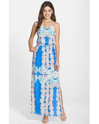 Charlie Jade Floral Print Racerback Silk Maxi Dress - Lyst