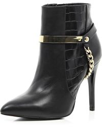 River Island Black Leather Croc Embossed Ankle Boots - Lyst